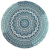 AJIUHE Round Beach Blanket Bohemian Mandala Tapestry Circle Yoga Mat for Meditation Round Indian Mandala Round Roundie Beach Mat Throw Tapestry Hippy Boho Gypsy Cotton (a)