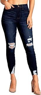 Women's High Rise Distressed Slit Hem Skinny Jeans