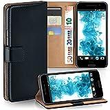 MoEx® Booklet mit Flip Funktion [360 Grad Voll-Schutz] für HTC One A9   Geldfach & Kartenfach + Stand-Funktion & Magnet-Verschluss, Schwarz