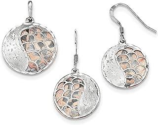 Lex & Lu Sterling Silver Rose-Tone D/C & L/C Rhodium-Plated Earring/Pendant Set