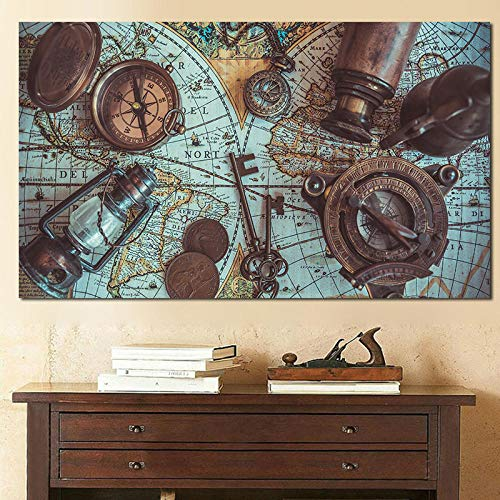 MhY Cartel náutico náutico mar Mundo Mapa Lupa brújula Lienzo Arte Carteles e Impresiones Pintura suplemento decoración del hogar Arte de Pared 60x90cm Sin Marco