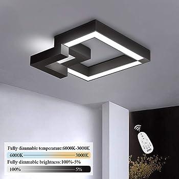WHL LED Dimmbare Deckenleuchte Wohnzimmerlampe Mit Fernbedienung Moderne Minimalistische Deckenleuchte Kreative Metall Acryl Design Deckenleuchte Beleuchtung Schlafzimmer Pendelleuchte,Schwarz,90cm