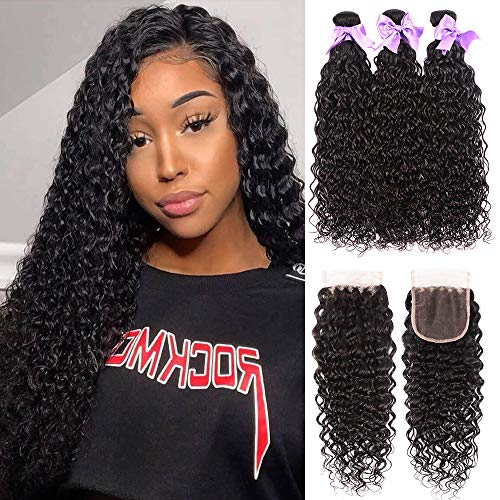 8A Brazilian Human Hair Water Wave Wet and Wavy Bundles With Closure 100% Unprocessed Virgin Human Hair Ocean Wave 3 Bundles With Closure Deep Wave No Shedding Natural Color (18 20 22+16)