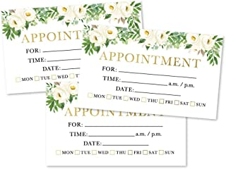 50 White Floral Appointment Reminder Cards, Next Apt. With Medical Doctor, Dental, Salon, Therapy, Dog Grooming, Cleaning Business, Flower Custom Personalized Blank Recall Service Reminder Notes