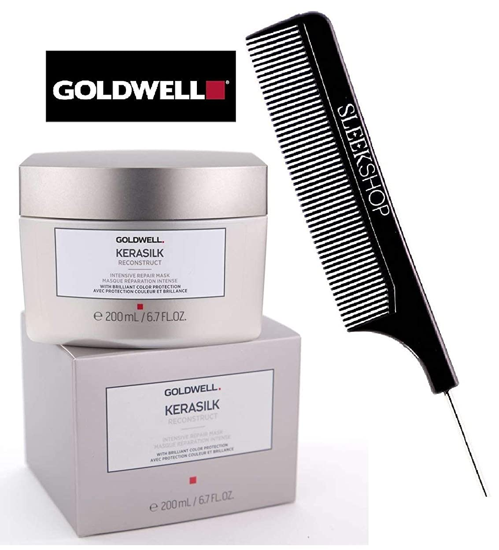 扱う修正現象Goldwell Kerasilkは((なめらかなスチールピンテールくし付き)鮮やかな色保護を集中リペアマスクを再構築) 6.7オンス/ 200ミリリットル小売size