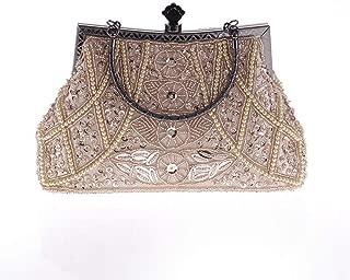 Honana Party bags for Women Ladies Women's Vintage Beaded Rhinestone Clutch Wedding Bridal Handbag Purse Evening Bag Women's Fashion