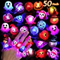 50 Pcs Halloween LED Flashing Rings Decorations Light Up Toys for Kids and Adults Halloween Party Favors Supplies Gift Bag Fillers