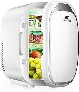 EZGETOP Mini Frigo de Chambre, Mini Réfrigérateur 8L 12V/220V (White, 8 L)