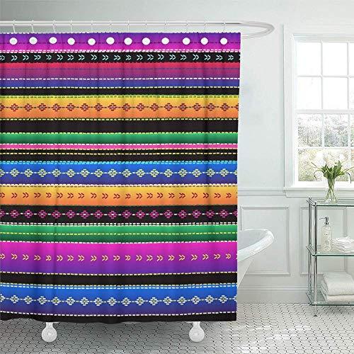 N\A Cortina de Ducha Decorativa México étnico Mexicano con Rayas de Colores Recta Azul Rojo Verde Amarillo Negro Resistente al Agua Resistente al Moho baño Conjunto Cortinas