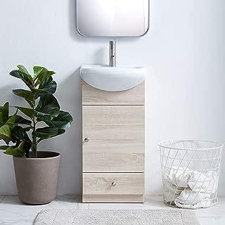 "COTULIN Modern 17.7"" Grey Grain Upright Bathroom Vanity, 1- Drawer Bathroom Cabinet with Ceramic Vessel Sink"