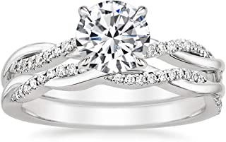 10k 14k 18k White Gold Twisted Bridal Sets Ring for Women 1-1/6 ct. tw. Moissanite, Two-in-One Proposal Engagement Wedding...