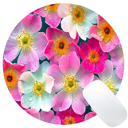 Wknoon Floral Round Gaming Mouse Pad Custom Design, Girly Pink Flowers Cute Rain Water Drops Circular Mouse Pads