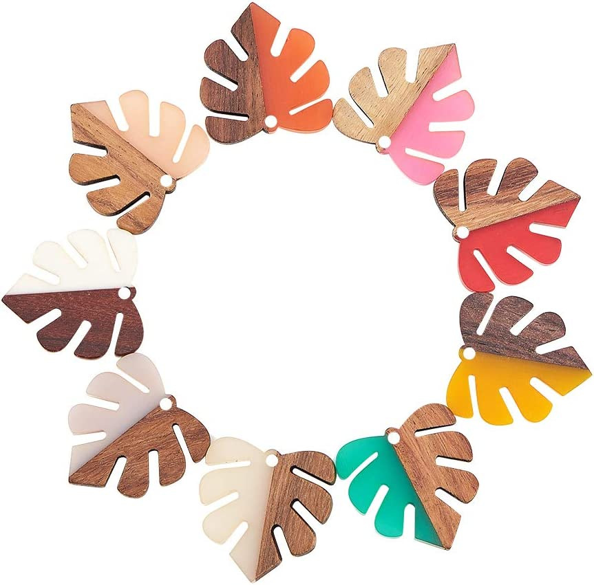 Ranking TOP19 Airssory 50 Pcs Resin Quantity limited Natural Monstera Pendants Wood Charming