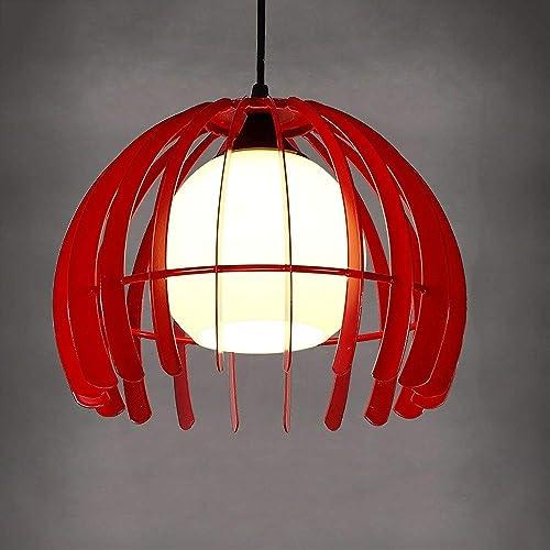 Upside Down Semi-circulaire En Verre Suspension Vintage Fer Cage Peinture RevêteHommest En Plafond Pendentif Décoré Restaurant Restaurant Grange Chambre (Couleur   rouge)