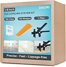 OGORI Tile Leveling System 1/8 inch Kit-300 Leveling Spacer Clips Plus 100 Reusable..