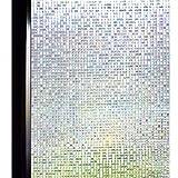 DUOFIRE 3D窓用フィルム 目隠しシート ガラスフィルム 断熱 遮光 結露防止 紫外線UVカット 水で貼る 貼り直し可能 装飾フィルム おしゃれ [石道004] (0.9M X 2M)