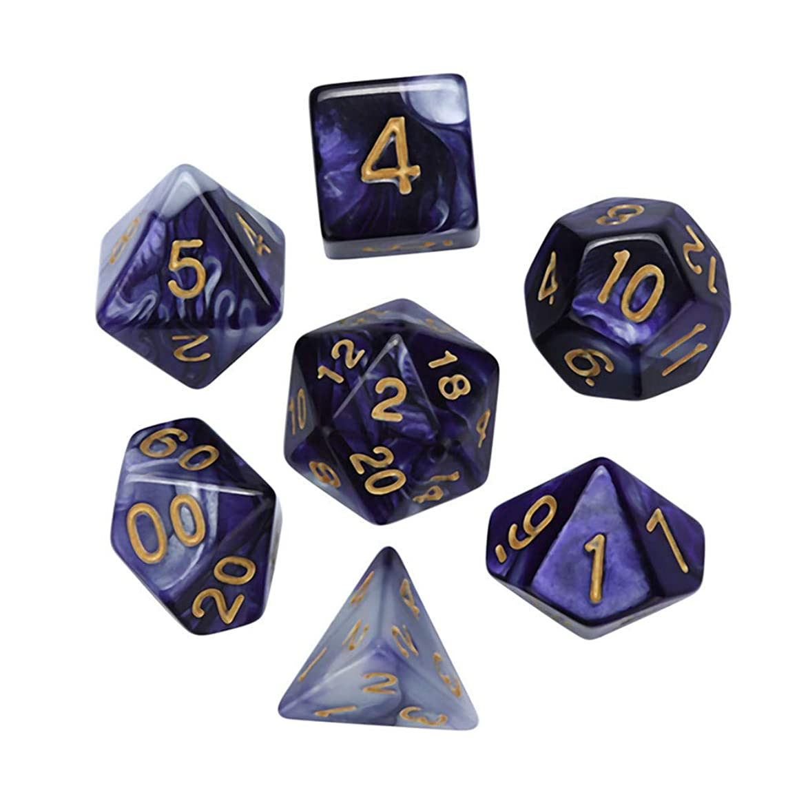 Huaa Polyhedral DND Dice Sets for Dungeons Dragons(D&D) Role Playing Game(RPG),Table Game Translucent Sparkle Dice (A, Free Size)