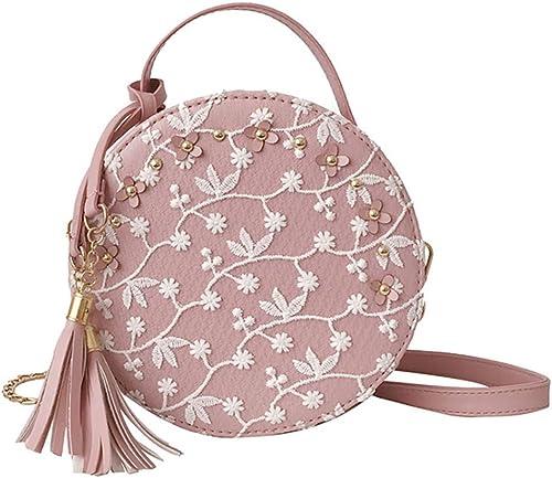 Callm Woman Girl 2019 Hot Fashion Women Embroidery Tassel Crossbody Bags Round Tote Handbags Shoulder Bag Pink