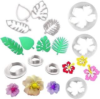 Tropical Palm Leaves Cutters- Hawaiian Flowers Fondant Cutter/Wild Rose Petals Gumpaste Cutters for Gum Paste, Sugarcraft Candy, Luau Cake Decorating