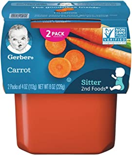 Gerber Purees, 2nd Foods, Carrot, 8 oz (pack of 2)