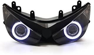 KT Headlight Assembly for Kawasaki Ninja ZX-6R 2005-2006 White Angel Eye