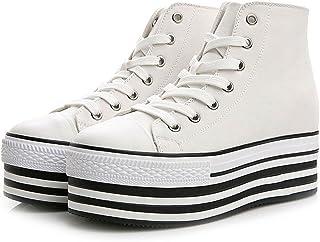 Sufoen 9cm アップ シークレットシューズ レディース キャンバス スニーカー 厚底 背が高くなる靴