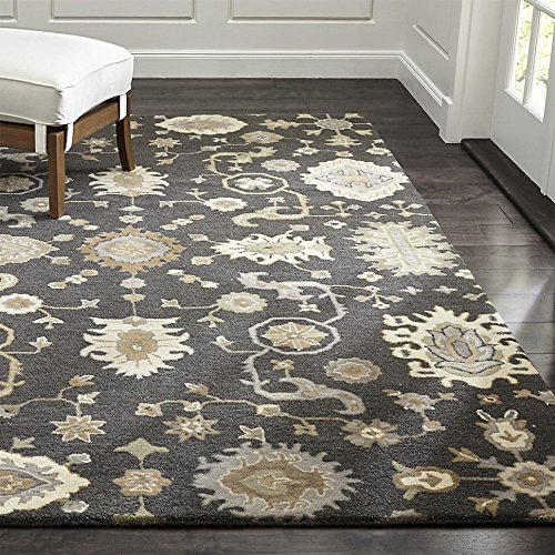 Crate and Barrel Juno Gray Traditional Persian Handmade 100% Wool Rugs & Carpets (6'x9')