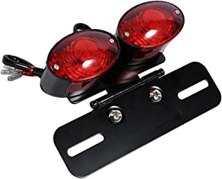 Motorcycle Dual Cat Eye Tail Lights w/Bracket, Keenso Universal 12V LED Twin Dual License Plate Holder with Turn Signal Brake Tail Light w/Bracket for Racing ATV Chopper