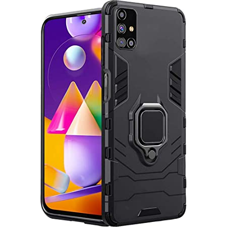 TheGiftKart Back Case Cover for Samsung Galaxy M31s (Armor   Polycarbonate   Carbon Black)