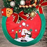 Zogin 100cm 39.5' Falda del Árbol de Navida para árbol de Navidad - decoración de Papá Noel & muñeco de Nieve (Rojo y Verde)