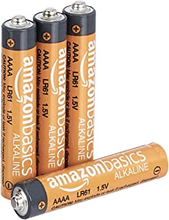 AmazonBasics AAAA 1.5 Volt Everyday Alkaline Batteries - Pack of 4