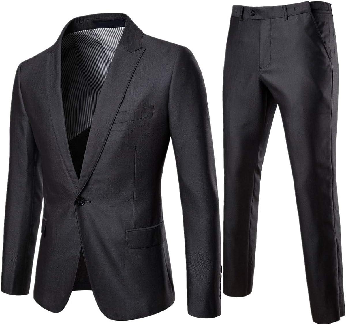 Men's 2 Piece Suit Double Button Slim Fit Lapel Elegant Pure Black Party Blazer Jacket Pants