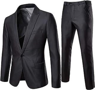 AOWOFS Men's Slim Fit Suit 2 Pieces Non-Iron Men's Suit Business Wedding Blazers, L, Grey-03
