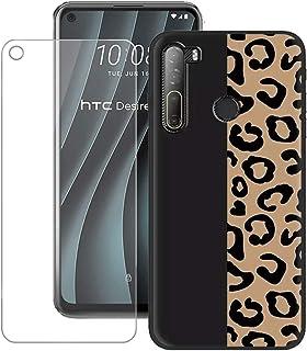 TTJ Skal till HTC Desire 20 Pro HD pansarglas, mobiltelefonskal silikon skyddsskal Cover TPU Case mobilväska – pansarglasf...