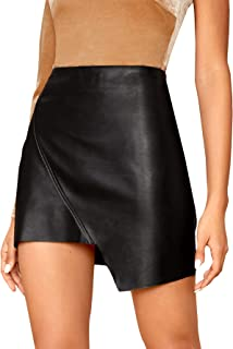 WDIRARA Women's Elegant Wrap Asymmetrical Hem PU Leather Mini Straight Skirt