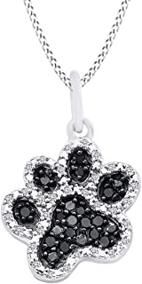 Christmas Holiday Sale Round Black & White Natural Diamond Accent Dog Paw Pendant in 14K Gold Over Sterling Silver