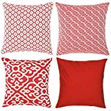 HAOD Decorative Throw Pillow Covers, Luxury Embroidery Cushion Cases for Sofa, Chair, Couch, Bedroom, Square Standard 18x18 Inches Pillow Cases (RED1)