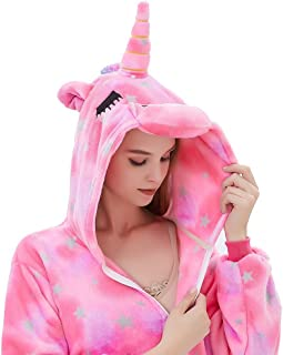 ABENCA Fleece Onesie Pajamas for Women Adult Cartoon Animal Unicorn Christmas Halloween Cosplay Onepiece Costume