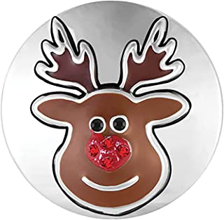 Ginger Snaps Mr.Reindeer Charm Accessory   Interchangeable, Customizable & Adjustable Snap Jewelry Collection   Button Charms for Necklaces, Bracelets & Rings   Standard Size   SN19-32