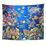 Acuario colorido de peces que muestra diferentes peces nadando vida marina decoración del hogar tapiz colgante de pared para sala de estar dormitorio dormitorio 150x100cm