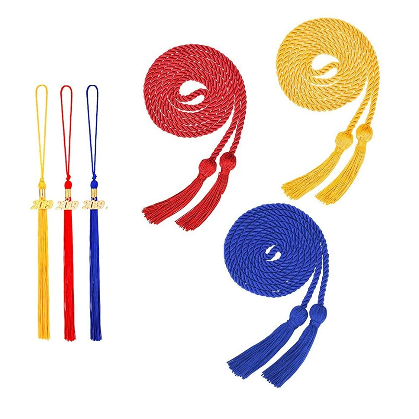 Chris.W 3Pcs Graduation Honor Cords with 3Pcs 2019 Year Graduation Cap Tassels Set, Braided Honor Cords for Grad Days and Graduates Photography Decorations(Red/Blue/Gold)