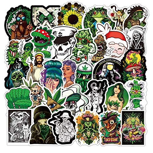 Weed Stickers for Skateboard| 50 Pcak | Vinyl Waterproof Stickers for Laptop,Bumper,Water Bottles,Computer,Phone,Hard hat,Cool Stickers,Car Stickers(Weed-b)