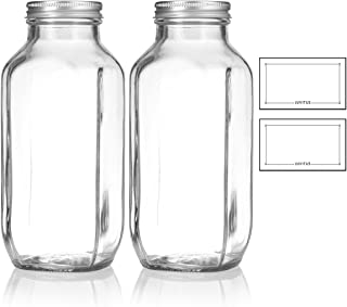 16 oz / 480 ml Clear Thick Plated Glass French Square Empty Bottle Jar with Metal Silver Lid (2 Pack) Perfect for Home, Travel, Juicing, Kombucha