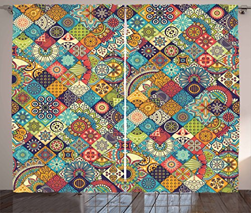 """Ambesonne Bohemian Curtains, Geometric Pattern with Ornamental Floral Folk Art Abstract, Living Room Bedroom Window Drapes 2 Panel Set, 108"""" X 63"""", Blue Cream"""