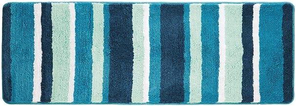 mDesign Striped Microfiber Polyester Rug, Non-Slip Spa Mat/Runner, Polyester, Teal, Pack of 1