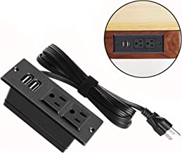 Conference Recessed Power Strip Socket,Desktop Power Grommet Power Strip With 2-Outlet & 2 USB Ports