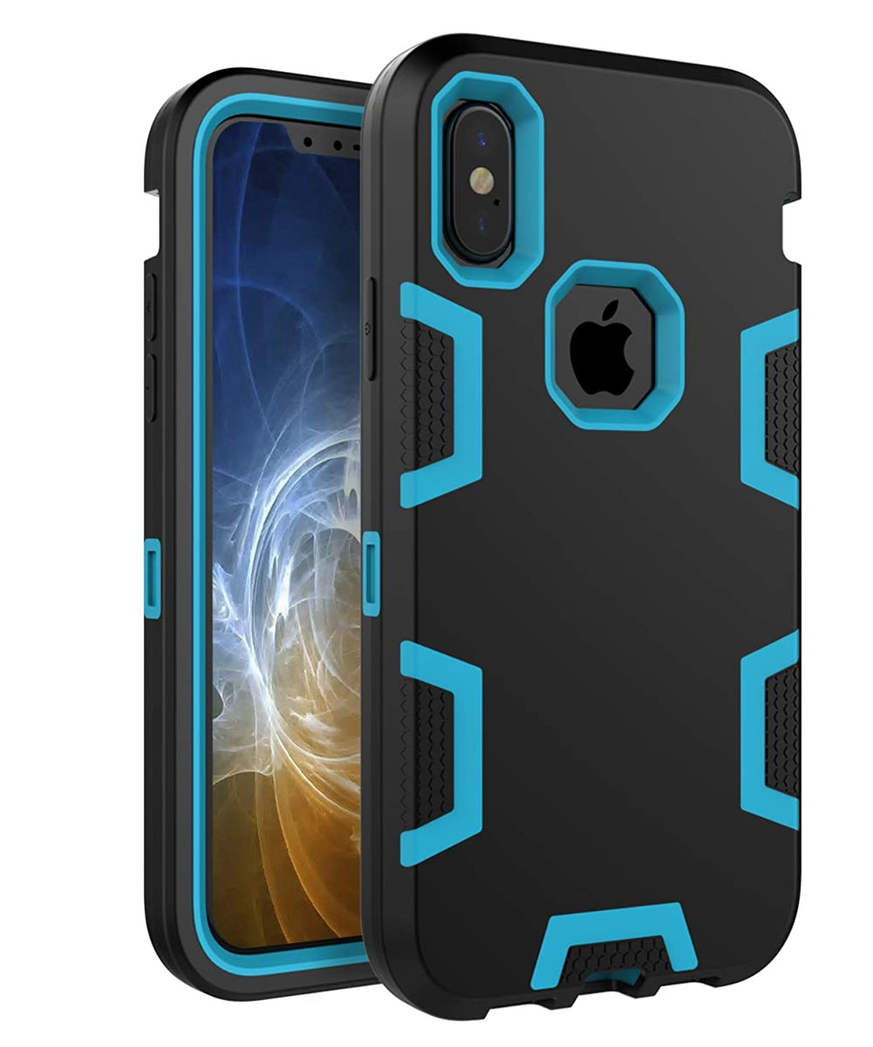iPhone Xs Case iPhone X case TIANLI Three Layer PC + Silicone Rubber Hybrid Shockproof Protective Cover for iPhone Xs 2018/X 2017 - Black Blue