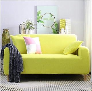 ARTEZXX Funda elástica para sofá de 1/2/3/4 plazas Amarillo Cubierta Antideslizante en Tejido elástico Extensible Protecto...