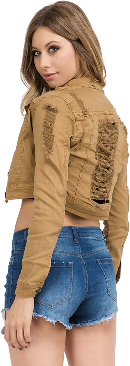 Love Moda Womens Basic Classic Casual Destroyed Button Down Denim Cropped Jacket