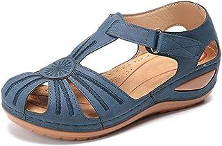 女士坡跟高跟凉鞋/花朵拼接休闲拖鞋/PU橡胶制成/舒适的圆头可调节钩,ブルー,35